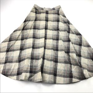 intage Wool Black, Gray & Multi Color Plaid Skirt